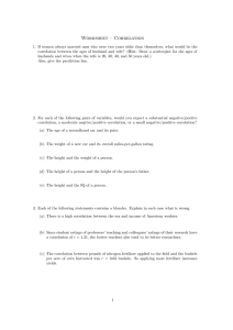 Worksheet – Correlation