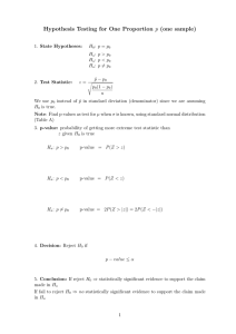 Hypothesis Testing for One Proportion p (one sample)