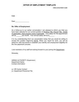 OFFER OF EMPLOYMENT TEMPLATE