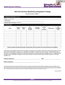 UNI Life Insurance Beneficiary Designation Change Group Number 10962-1