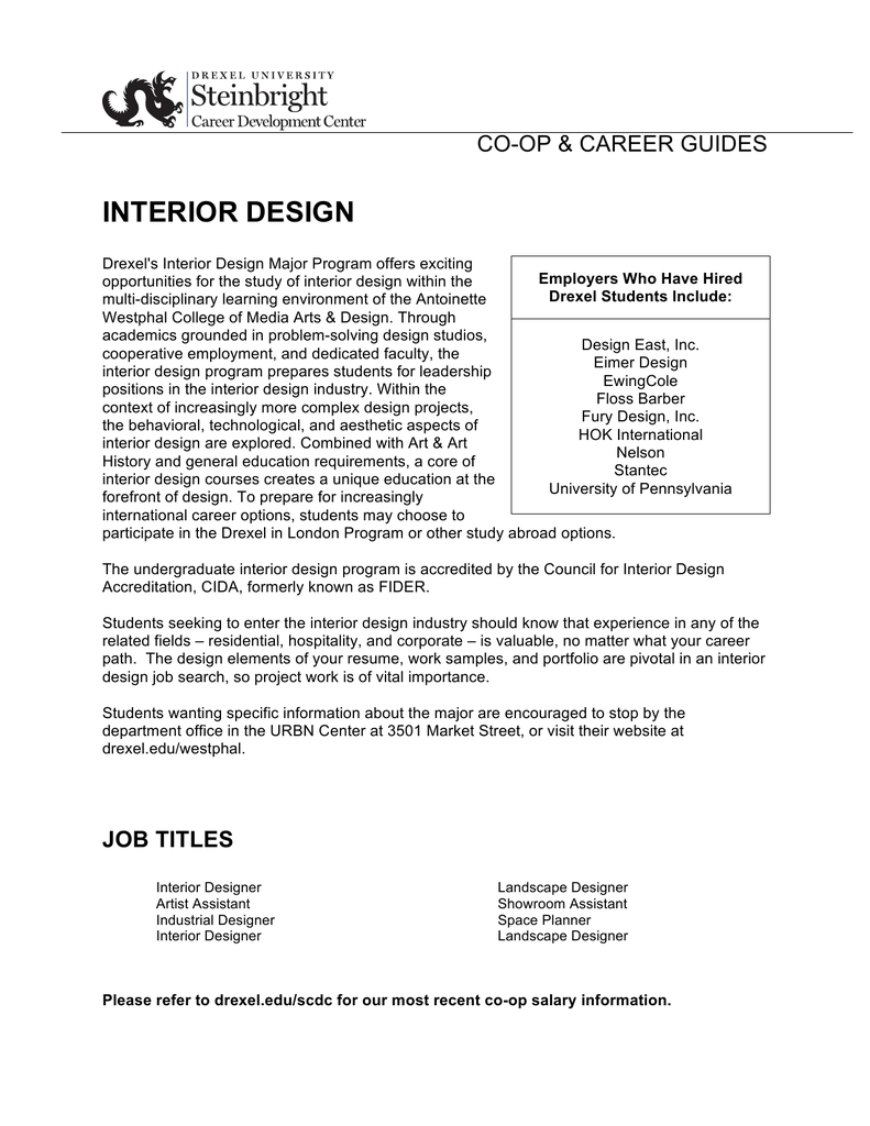 Interior Design Co Op Amp Career Guides