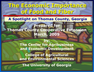 The Economic Importance of Food and Fiber Prepared for Thomas County Cooperative Extension