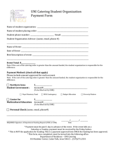 UNI Catering Student Organization Payment Form