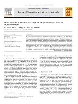 Finite size effects with variable range exchange coupling in thin-film