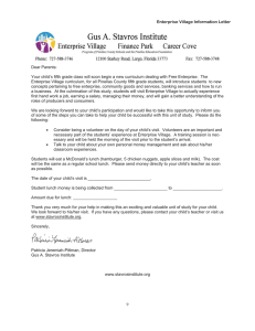 Dear Parents: Enterprise Village Information Letter