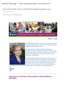Weekly Message + State Superintendent June Atkinson