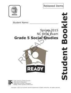RELEASED Student Booklet Grade 5 Social Studies Spring 2015