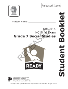 RELEASED Student Booklet Grade 7 Social Studies Fall 2014