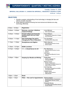 SUPERINTENDENTS' QUARTERLY MEETING AGENDA  Tuesday, October 21, 2008