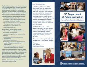 Dear North Carolinian, The North Carolina Department of Public Instruction