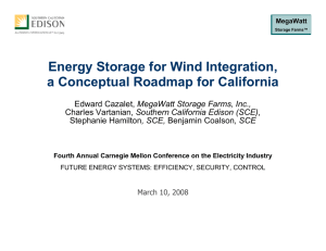 Energy Storage for Wind Integration, a Conceptual Roadmap for California