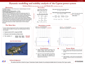 Dynamic modelling and stability analysis of  the Cyprus power... Motivation Procedure Stefanos Baros