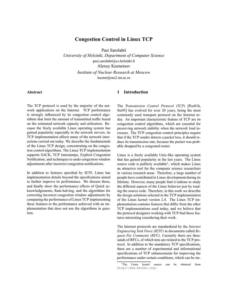 Congestion Control in Linux TCP Pasi Sarolahti Alexey Kuznetsov