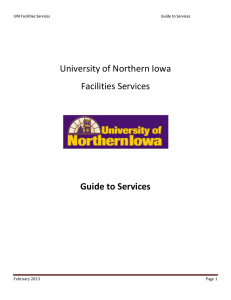University of Northern Iowa Facilities Services  Guide to Services