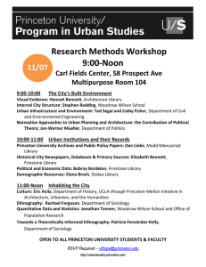 Research Methods Workshop 9:00-Noon 11/07 Carl Fields Center, 58 Prospect Ave