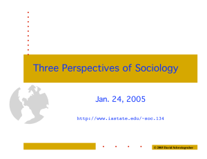 Three Perspectives of Sociology Jan. 24, 2005  © 2005 David Schweingruber