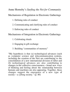 Surfing the Net for Community Mechanisms of Regulation in Electronic Gatherings