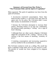 Summary of Excerpt from Max Weber's spirit of Calvinism.
