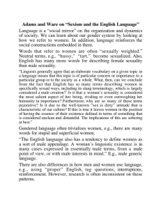 "Adams and Ware on ""Sexism and the English Language"""
