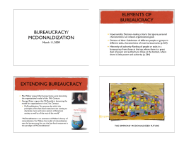 ELEMENTS OF BUREAUCRACY BUREAUCRACY/ MCDONALDIZATION