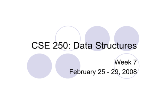 CSE 250: Data Structures Week 7 February 25 - 29, 2008
