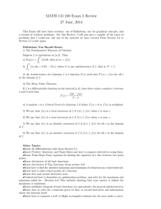 MATH 131:100 Exam 3 Review 27 June, 2014