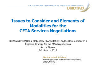 Issues to Consider and Elements of Modalities for the CFTA Services Negotiations