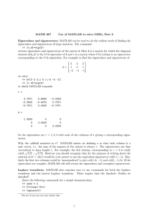 MATH 267 Use of MATLAB to solve ODEs, Part 2