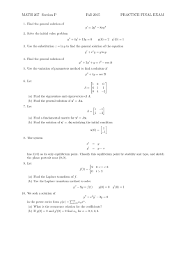 MATH 267 Section P Fall 2015 PRACTICE FINAL EXAM