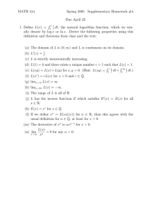 MATH 414 Spring 2005 Supplementary Homework #4 Due April 22 R