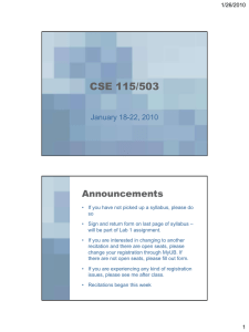 CSE 115/503 Announcements January 18-22, 2010 1/26/2010
