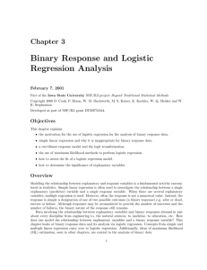 Binary Response and Logistic Regression Analysis Chapter 3 February 7, 2001