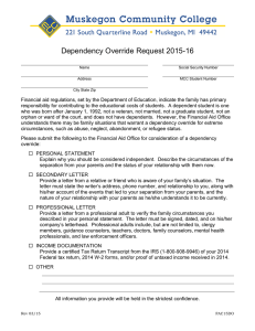 Dependency Override Request 2015-16