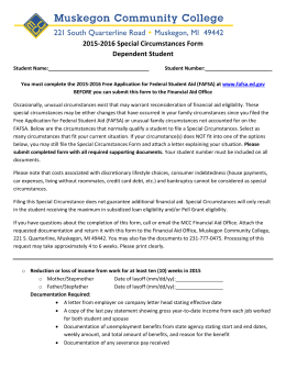 2015-2016 Special Circumstances Form  Dependent Student