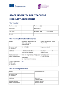 STAFF MOBILITY FOR TEACHING MOBILITY AGREEMENT  The Teacher