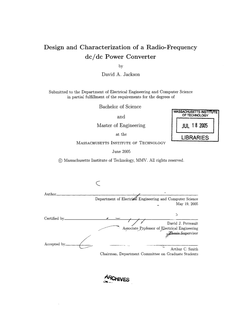 Design and Characterization of a Radio-Frequency A