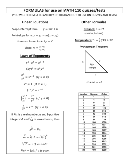 FORMULAS for use on MATH 110 quizzes/tests Linear Equations Other Formulas