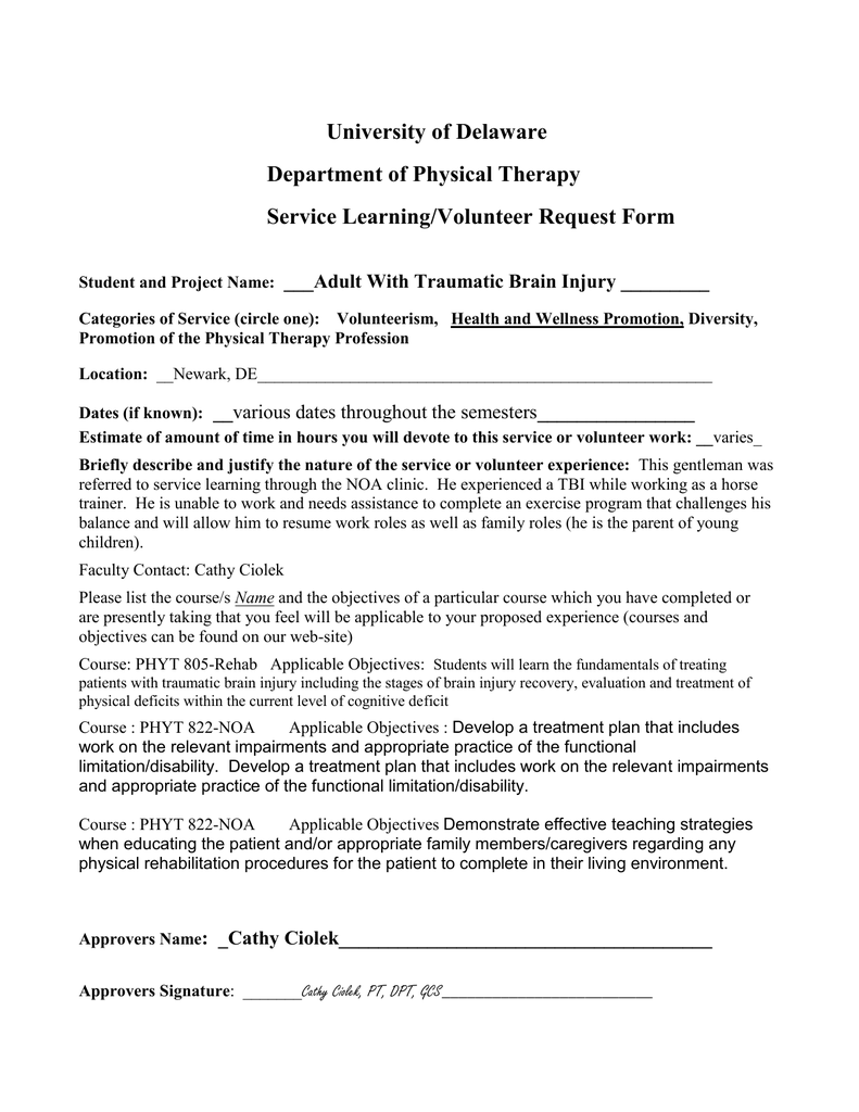 University Of Delaware Department Of Physical Therapy Service Learning Volunteer Request Form