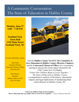 A Community Conversation: The State of  Education in Halifax County