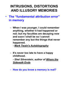 "INTRUSIONS, DISTORTIONS AND ILLUSORY MEMORIES The ""fundamental attribution error"" in memory"