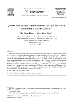 Quantitative unique continuation for the semilinear heat Kim Dang Phung