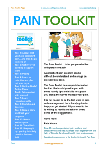 PAIN  TOOLKIT The Pain Toolkit....is for people who live