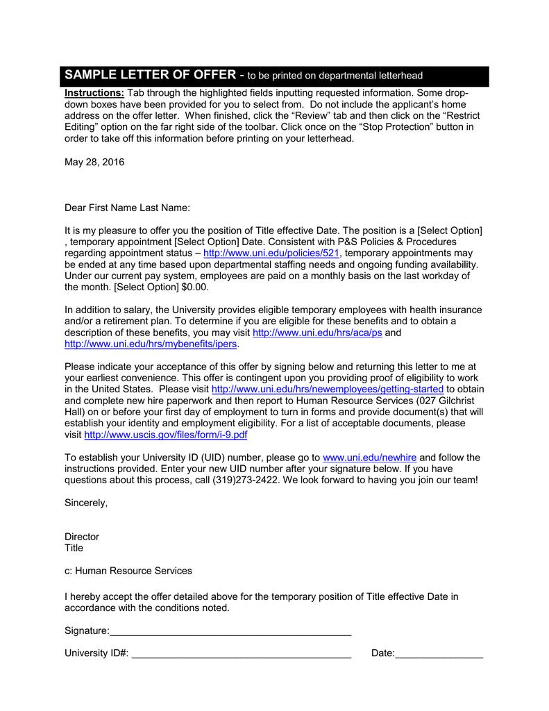 sample letter of offer