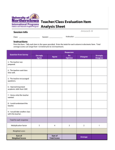 Teacher/Class Evaluation Item Analysis Sheet Session Info Instructions