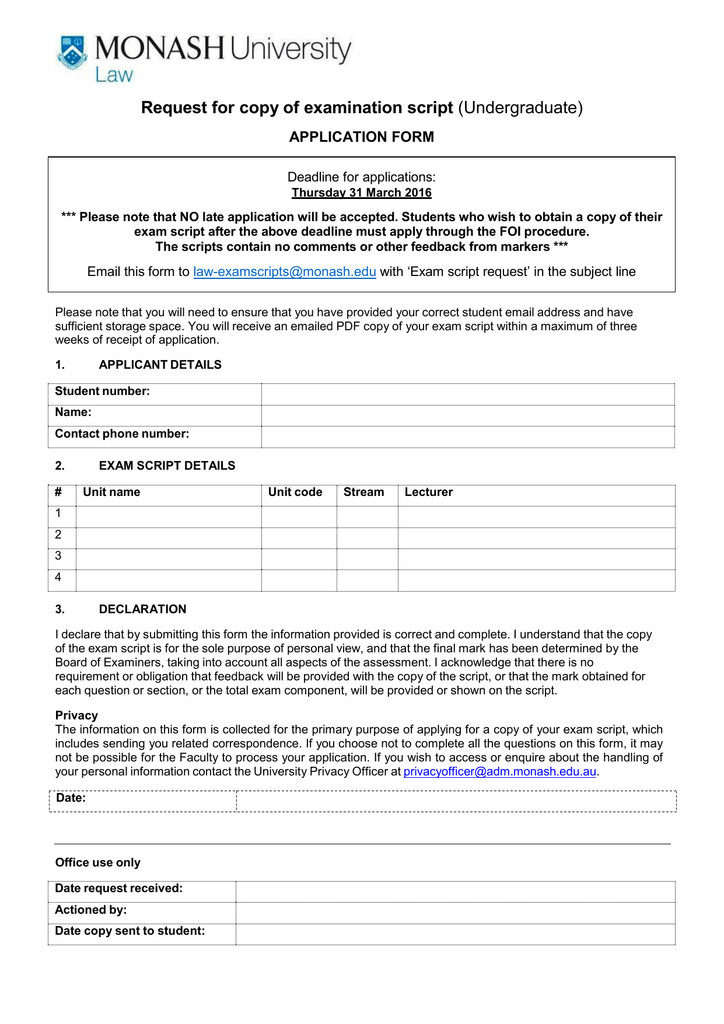 Request for copy of examination script APPLICATION FORM Deadline for