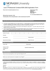 Law in Professional Contexts MON 2005 Application Form
