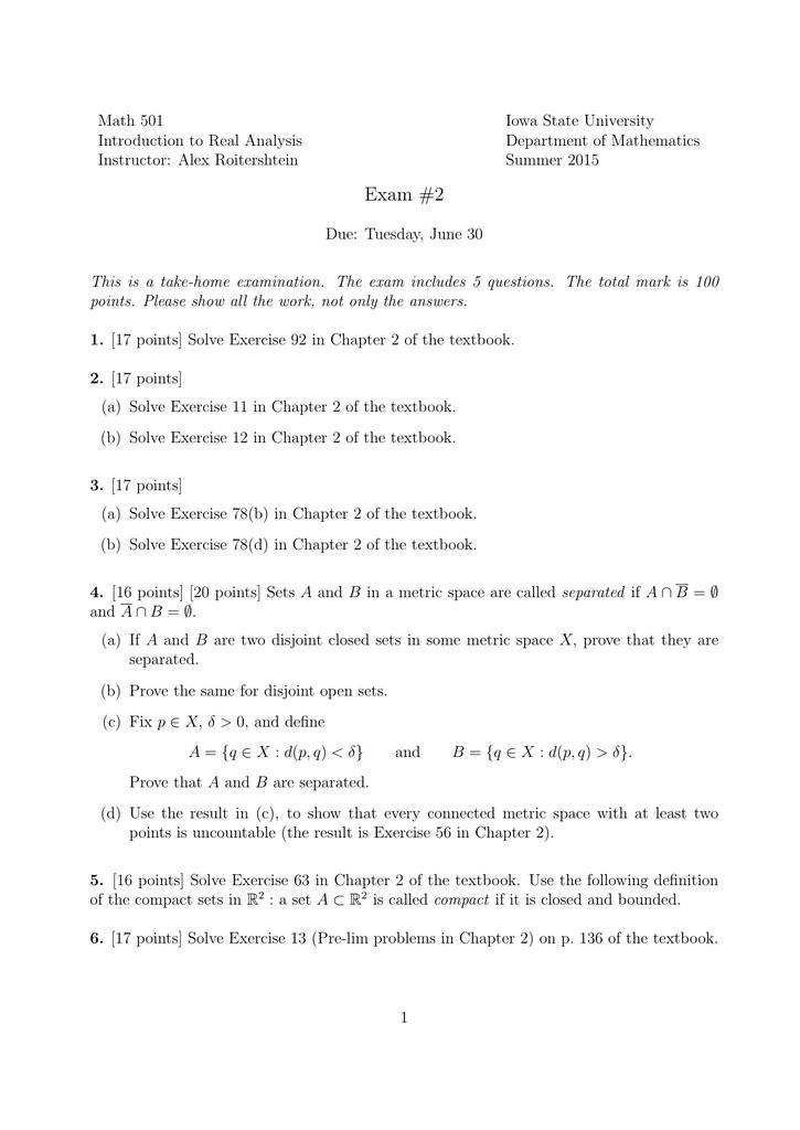 Math 501 Iowa State University Introduction to Real Analysis