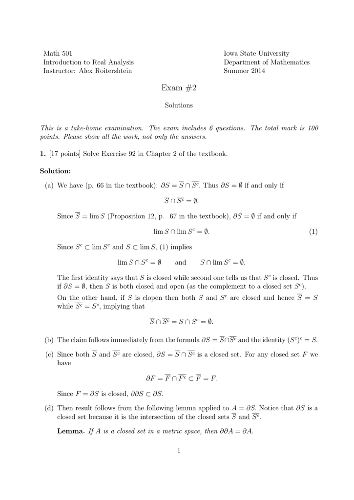 Math 501 Iowa State University Introduction to Real Analysis
