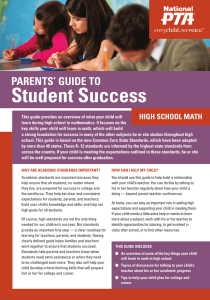 Student Success PARENTS' GUIDE TO HIGH SCHOOL MATH