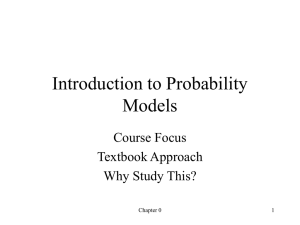Introduction to Probability Models Course Focus Textbook Approach